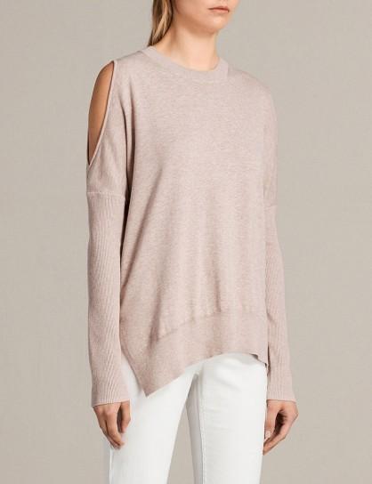 ALLSAINTS Reya cold-shoulder cotton-blend jumper Whisper pink – cut out jumpers