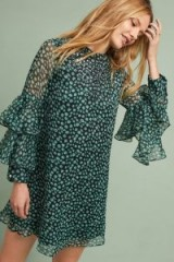 Anthropologie Amelia Ruffle-Sleeved Dress ~ ruffled green party dresses