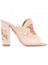 AQUAZZURA powder pink suede Lotus mules