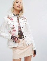 Arrive Embroidered Denim Jacket with Studs ~ white studded jackets