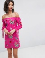 ASOS Off Shoulder Embroidery Mini Dress with Cuff Ties ~ pink embroidered bardot dresses