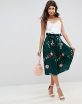 ASOS Scuba Prom Skirt with Paperbag Waist in Floral Print – green skirts