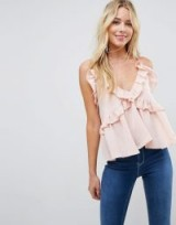 ASOS Swing Ruffle Cami with Plunge ~ ruffled blush pink tops