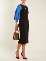 ROKSANDA Atlen contrast-panel crepe-cady pencil dress ~ chic balloon sleeve dresses ~ French style