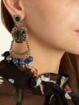 ERDEM Bead-embellished flower-drop clip-on earrings ~ statement jewellery