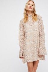FREE PEOPLE Simone Mini Dress ~ crochet lace high neck dresses