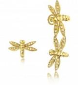 BERNARD DELETTREZ Dragonflies 18K Gold Earrings w/Diamonds ~ dragonfly jewellery