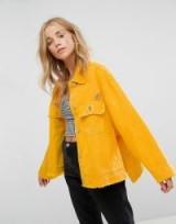 Bershka Oversized Denim Jacket | yellow distressed jackets