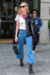 Kate Bosworth cropped denim flares, white tee, lace up ankle boots and shiny black leather jacket | celebrity street style