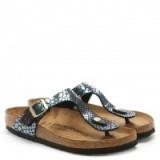 Birkenstock Gizeh Black Reptile Toe Post Sandal | animal print sandals