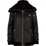 River Island Black faux leather aviator jacket