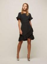 Miss Selfridge Black Frill Hem Skater Dress ~ going out dresses
