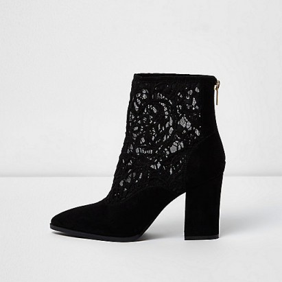 River Island Black lace insert block heel pointed boots
