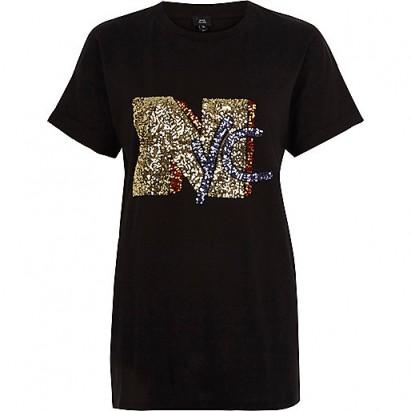 River Island Black 'NYC' sequin boyfriend T-shirt #tee #embellished
