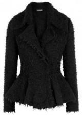 ALEXANDER MCQUEEN Black peplum tweed jacket ~ chic jackets