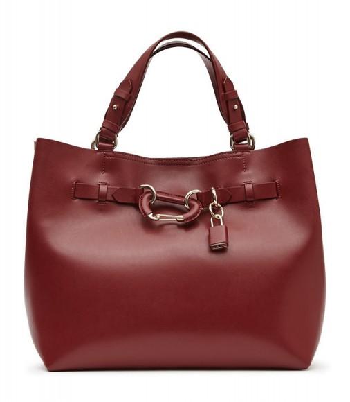 REISS BLEECKER STRUCTURED LEATHER TOTE JUNIPER ~ dark red handbags