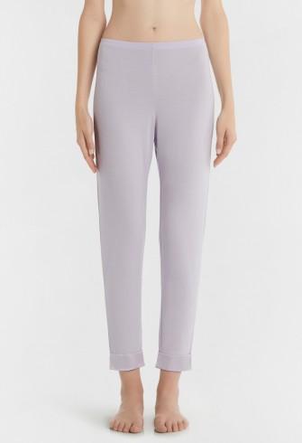 BLOOMING MACRAME' LILAC MODAL JERSEY PYJAMA TROUSERS WITH SATIN TRIM – LA PERLA pyjamas – luxury nightwear – sleepwear bottoms