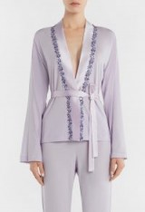 LA PERLA BLOOMING MACRAME' LILAC WRAP FRONT PYJAMA TOP WITH FLORAL MACRAMÉ EMBROIDERY – luxe nightwear – luxury pyjamas