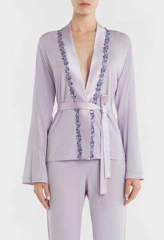 LA PERLA BLOOMING MACRAME' LILAC WRAP FRONT PYJAMA TOP WITH FLORAL MACRAMÉ EMBROIDERY – luxe nightwear – luxury pyjamas