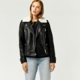 Warehouse BORG COLLAR FAUX LEATHER BIKER ~ black jackets