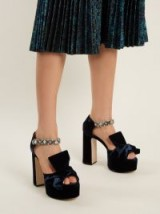 NO. 21 Bow-front velvet block-heel sandals ~ blue crystal embellished chunky platforms