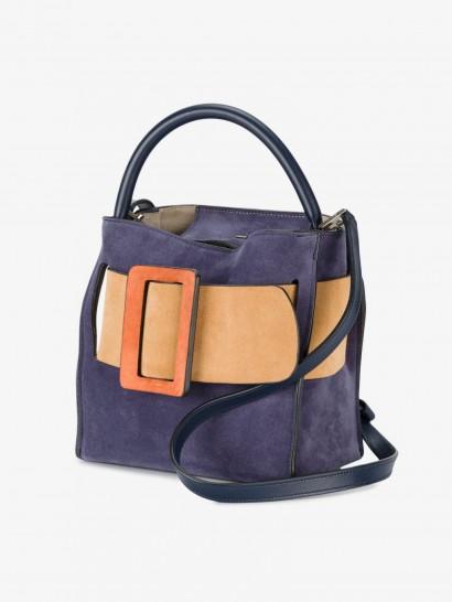 Boyy Devon 21 Tote Bucket Bag / small chic handbags / purple and orange suede bags