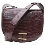 French Connection Contemporary Slide Lock Magda Across Body Bag, Chocolate Chili Croc – crossbody bags
