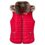 Joules Melbury Faux Fur Trim Hooded Gilet, Red – stylish gilets