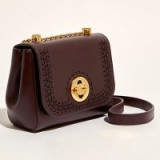 Karen Millen Antique Leather Across Body Bag, Aubergine / crossbody bags / handbags