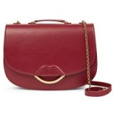 Lulu Guiness Isabella Half Covered Lips Leather Medium Across Body Bag, Red