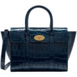 Mulberry Bayswater Leather Grab Bag, Croc Navy