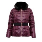Ted Baker Junnie Quilted Down Filled Jacket, Maroon – dark red faux fur padded jackets
