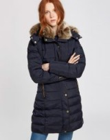 JOULES CALDECOTT PADDED COAT / navy winter coats / faux fur hood & collar