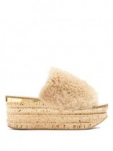 CHLOÉ Camillie shearling wedge slides | fluffy luxe wedges | fur flatforms
