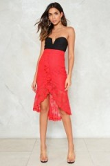 Nasty Gal Can't Get Enough of Your Lace Babe Ruffle Skirt ~ red asymmetric skirts