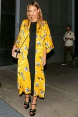 Jessica Alba wearing a yellow floral kimono jacket from topshop.com