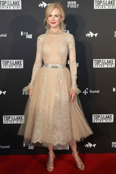Nicole Kidman in a stunning nude embellished Zuhair Murad dress with frill trim and silver sandals ~ Top of the Lake: China Girl Australian premiere in Sydney #dresses #actresses #premieres