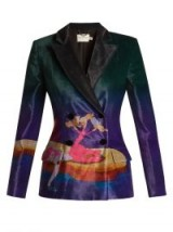 MARY KATRANTZOU Centaur-print double-breasted velvet blazer – jewel tone blazers