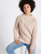 M&S COLLECTION Chenille Cable Funnel Neck Jumper / Marks and Spencer knitwear / blush jumpers