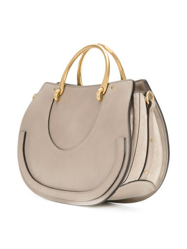 CHLOÉ Pixie East-West medium tote bag / grey top handle bags / chic style handbags
