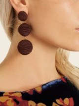 REBECCA DE RAVENEL Cindy drop earrings ~ chocolate-brown statement jewellery
