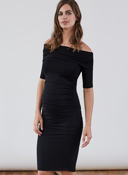 Isabella Oliver CLIFTON MATERNITY DRESS – lbd – off shoulder dresses - flipped