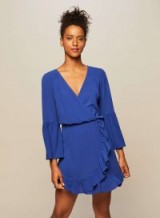 Miss Selfridge Cobalt Fit and Flare Wrap Dress ~ blue frill trimmed going out dresses