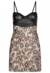 La Perla COCKTAIL LOOKS BLACK SHORT LEATHER AND EMBROIDERED LACE DRESS WITH BUILT-IN BRA / floral mini