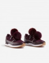 STRADIVARIUS Contrasting sneakers with pompoms | fluffy purple trainers