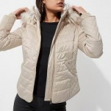 River Island Cream quilted fur trim puffer jacket ~ padded jackets