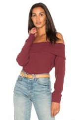 cupcakes and cashmere BROOKLYN TOP | dark red bardot tops
