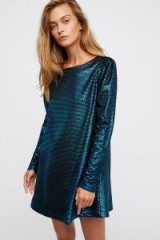 FREE PEOPLE Diamonds Are Forever Dress ~ metallic teal party dresses