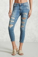 Forever 21 Distressed Cropped Skinny Jeans