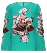 DOLCE & GABBANA Green cat print silk blouse